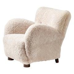 Flemming Lassen Style 1940s Sheepskin Armchair