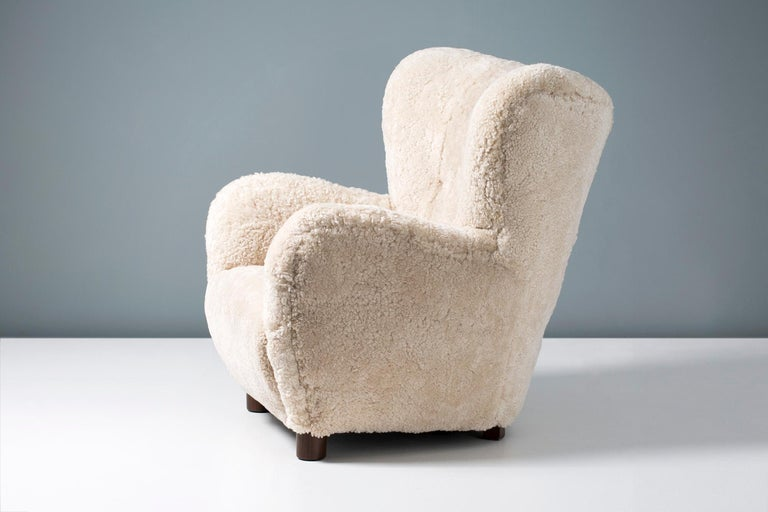 Scandinavian Modern Flemming Lassen Style 1950s Sheepskin Armchair For Sale