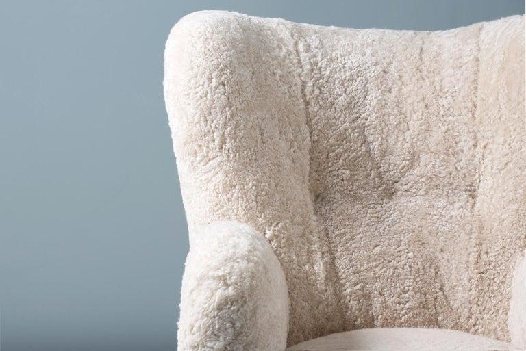 Danish Flemming Lassen Style 1950s Sheepskin Armchair For Sale