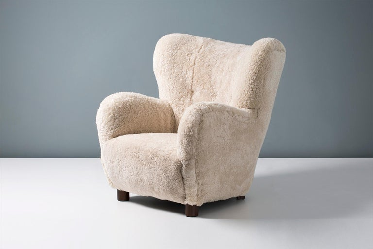 Flemming Lassen Style 1950s Sheepskin Armchair In Excellent Condition In London, GB