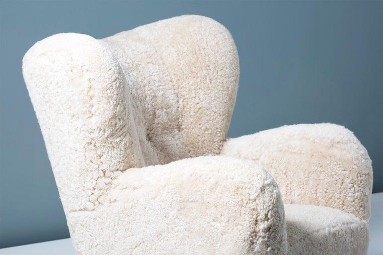 Mid-20th Century Flemming Lassen Style 1950s Sheepskin Armchair