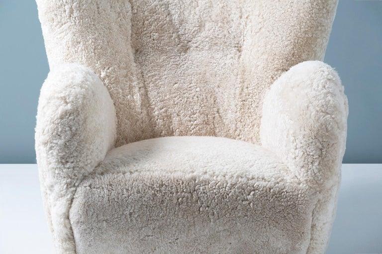 Flemming Lassen Style 1950s Sheepskin Armchair For Sale 1