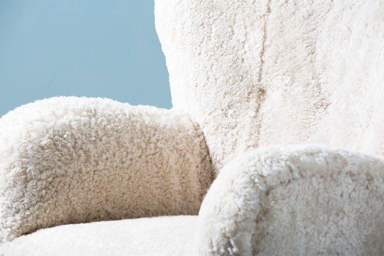 Flemming Lassen Style 1950s Sheepskin Armchair For Sale 3