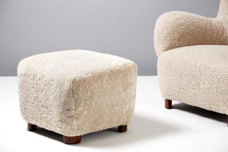Scandinavian Modern Flemming Lassen Style Sheepskin Lounge Chair & Ottoman 1940s For Sale
