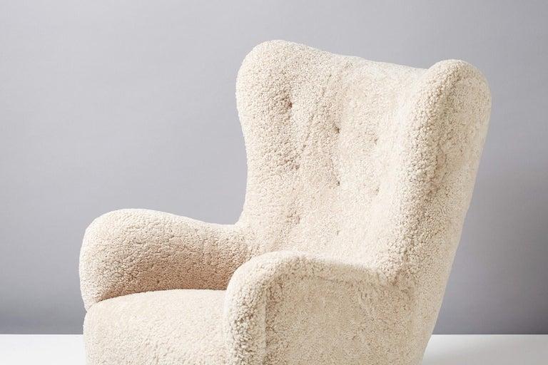 Danish Flemming Lassen Style Sheepskin Lounge Chair & Ottoman 1940s For Sale