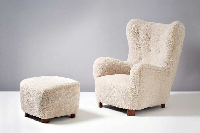 Flemming Lassen Style Sheepskin Lounge Chair & Ottoman 1940s In Excellent Condition For Sale In London, GB