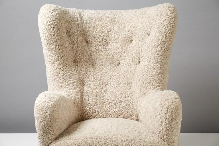 Mid-20th Century Flemming Lassen Style Sheepskin Lounge Chair & Ottoman 1940s For Sale