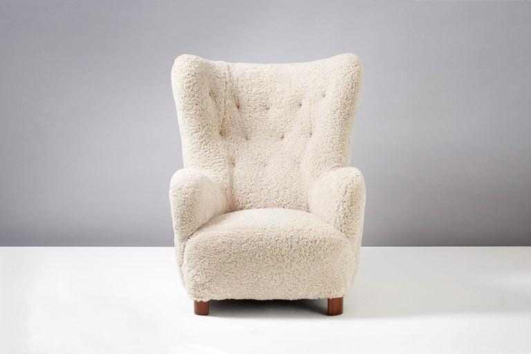 Flemming Lassen Style Sheepskin Lounge Chair & Ottoman 1940s For Sale 2