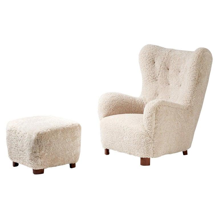 Flemming Lassen Style Sheepskin Lounge Chair & Ottoman 1940s For Sale