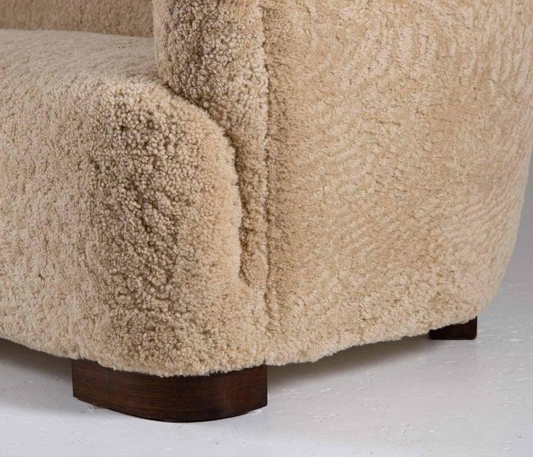 Flemming Lassen Style Sheepskin Sofa 1930s, Denmark For Sale 5
