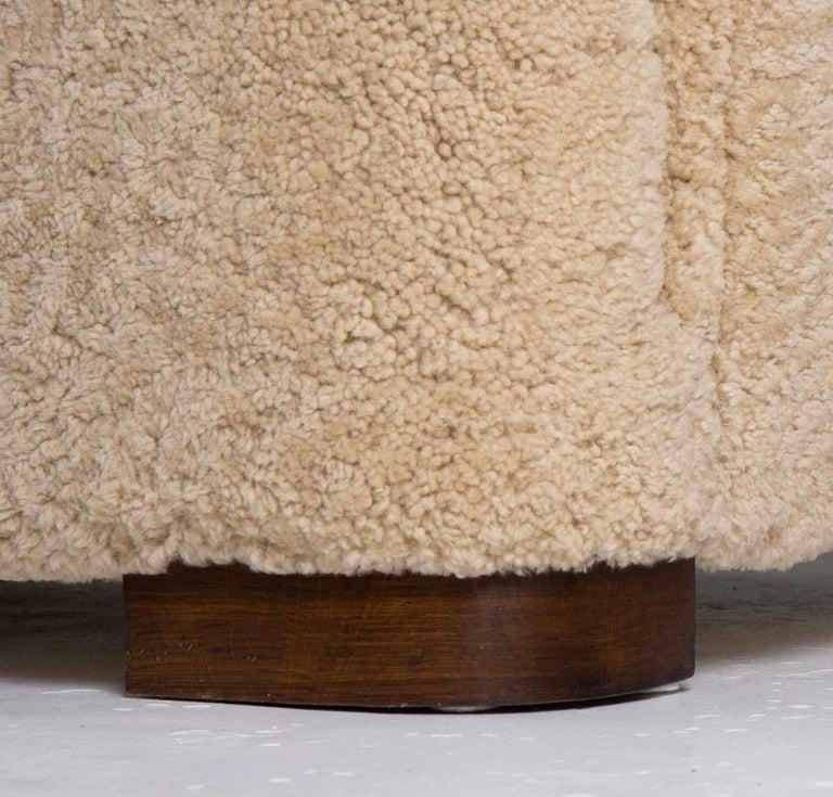 Flemming Lassen Style Sheepskin Sofa 1930s, Denmark For Sale 6