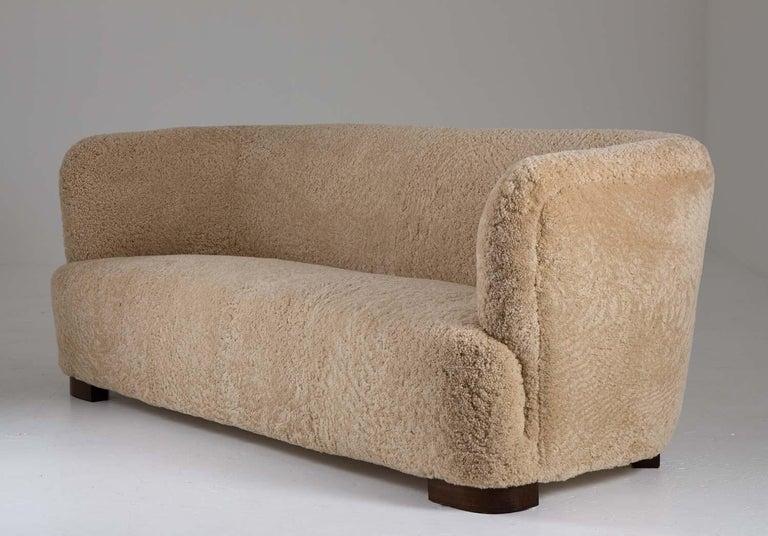 Scandinavian Modern Flemming Lassen Style Sheepskin Sofa 1930s, Denmark For Sale