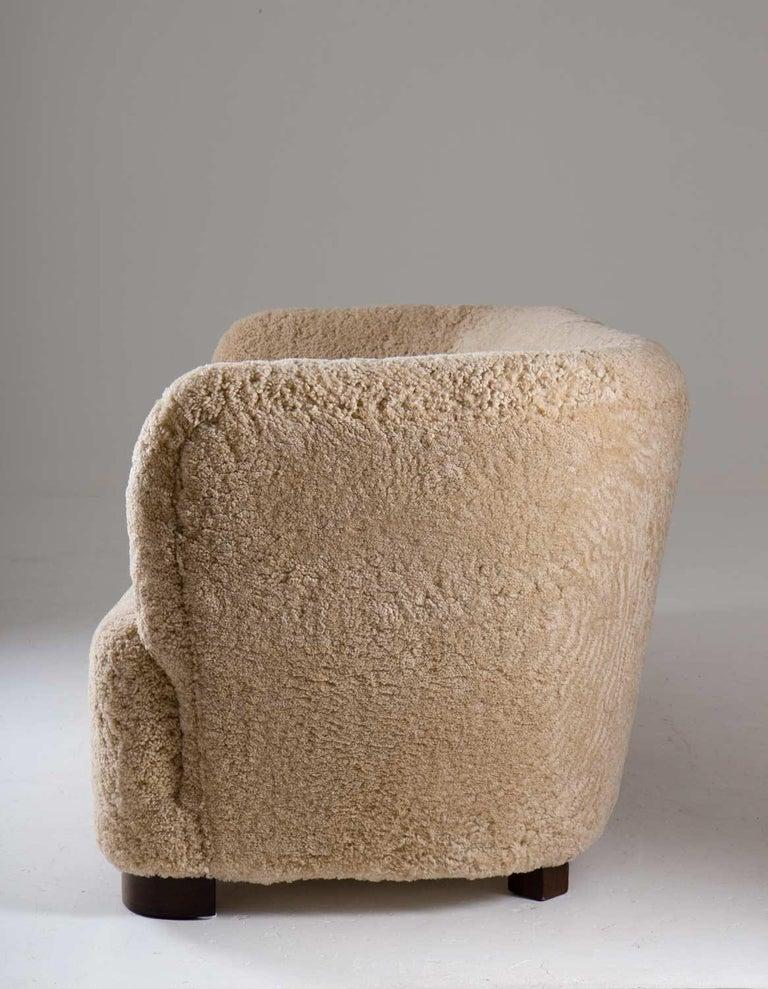 Danish Flemming Lassen Style Sheepskin Sofa 1930s, Denmark For Sale