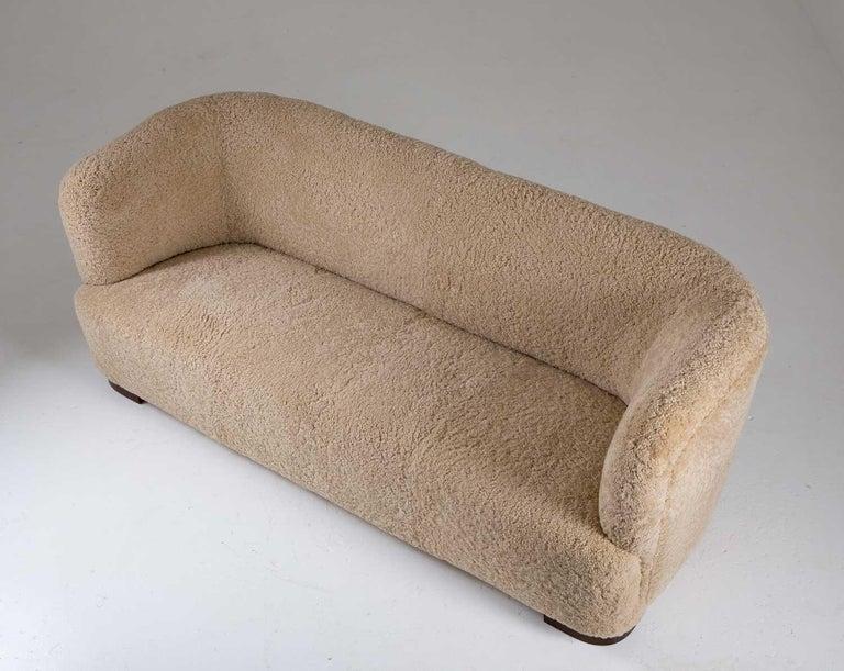 Mid-20th Century Flemming Lassen Style Sheepskin Sofa 1930s, Denmark For Sale