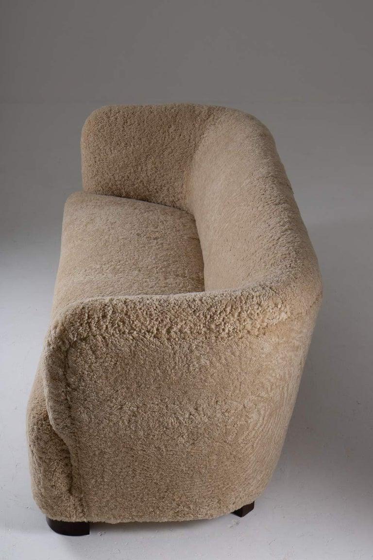 Flemming Lassen Style Sheepskin Sofa 1930s, Denmark For Sale 1