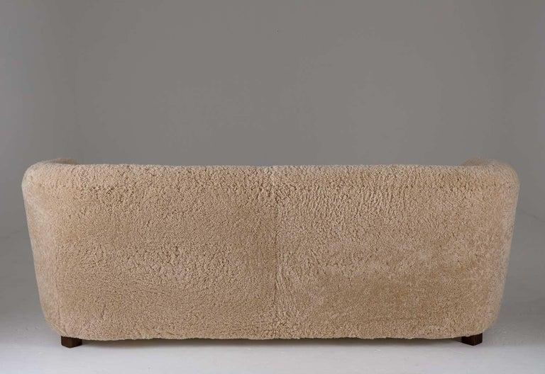 Flemming Lassen Style Sheepskin Sofa 1930s, Denmark For Sale 3