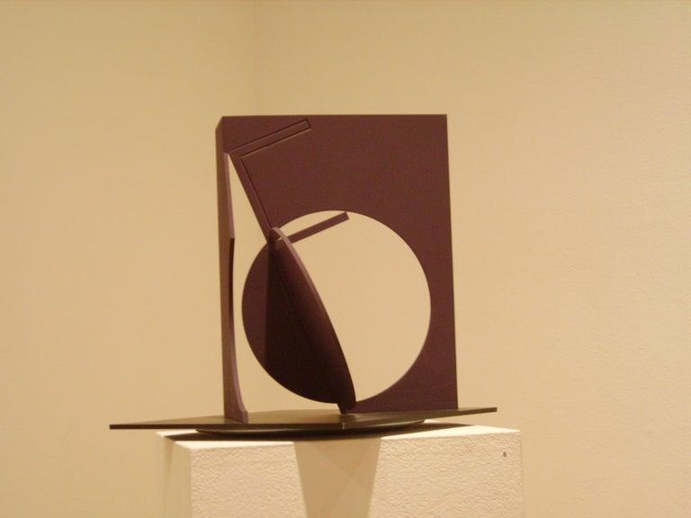 Fletcher Benton, Folded Square Alphabet F (ed 3 of 3), 2006, painted steel - Abstract Sculpture by Fletcher Benton