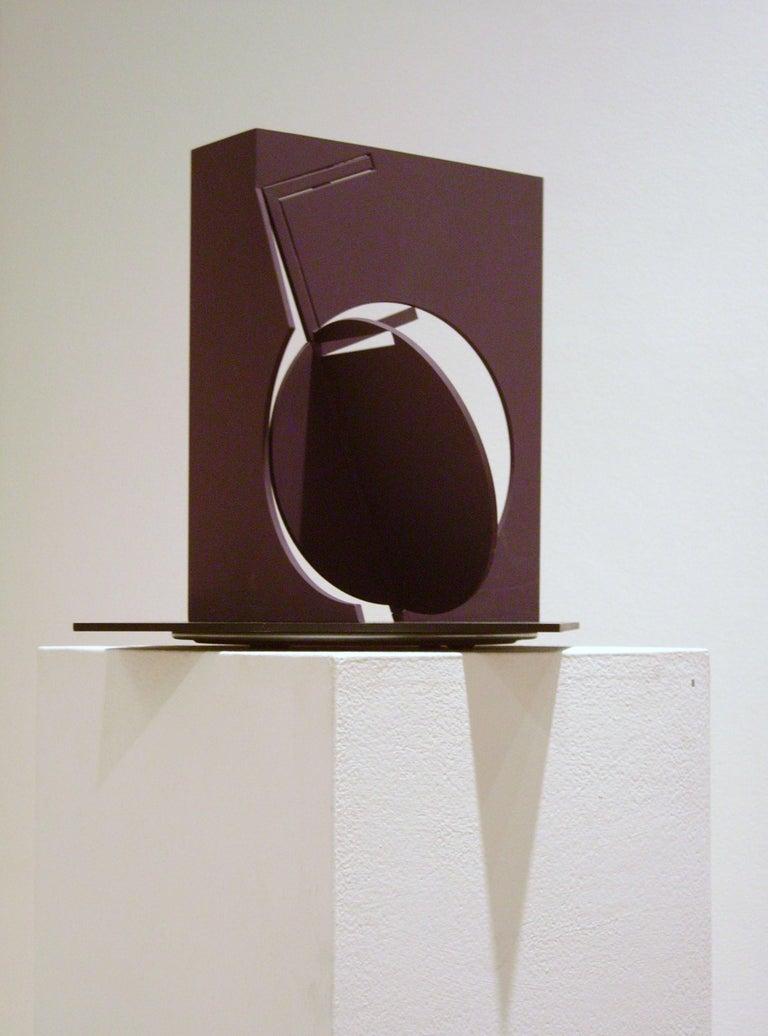 Fletcher Benton, Folded Square Alphabet F (ed 3 of 3), 2006, painted steel - Sculpture by Fletcher Benton