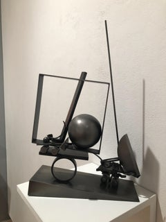 Truckin Geo 21, abstract black steel sculpture