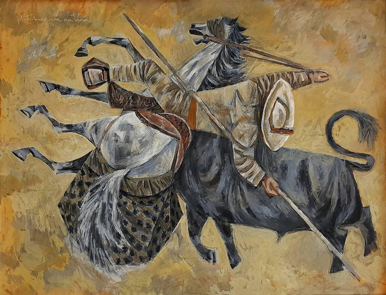 BullFight Picador  Horsemen Matador. Bullfighting scene where horse is impaled