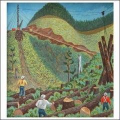 "Fletcher Martin ""Tree Workers"" Woodstock WPA Muralist Social Realism Industrial"
