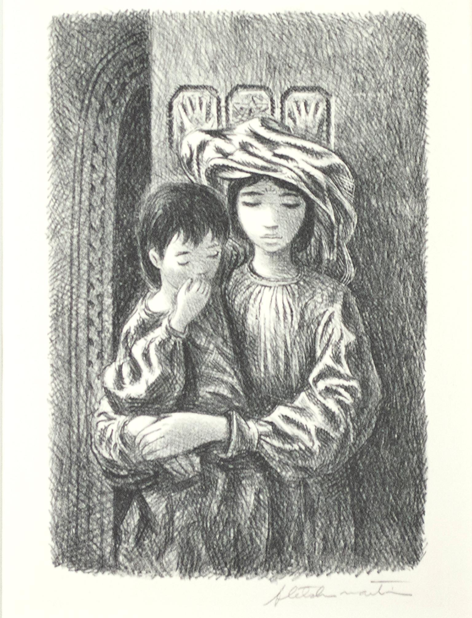 """""""Arab Children,"""" Portrait of Two Figures Lithograph signed by Fletcher Martin"""