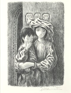 """Arab Children,"" portrait lithograph by Fletcher Martin"