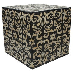 Fleur Cube End Table / Stool Made with Grey/ Black Resin with Baroque Bone Inlay