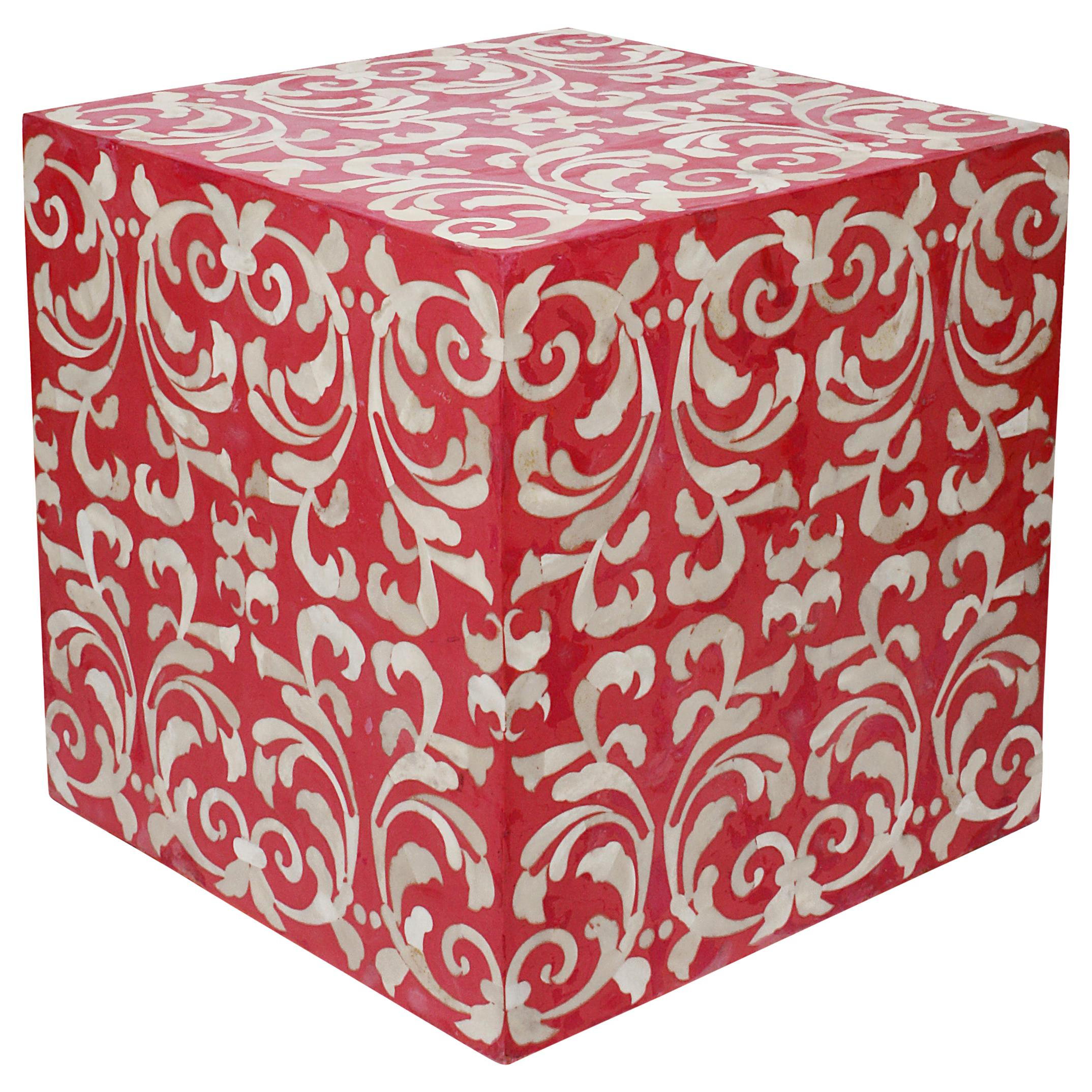 Fleur Cube End Table / Stool Made with Red Resin with Baroque Bone Inlay