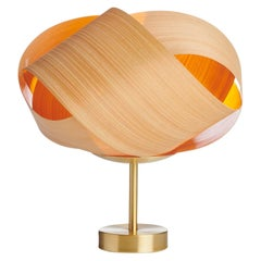 Fleur Cypress Wood Accent Light with Brushed Brass Stand