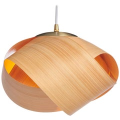 FLEUR Cypress Wood Mini Pendant with Brushed Brass