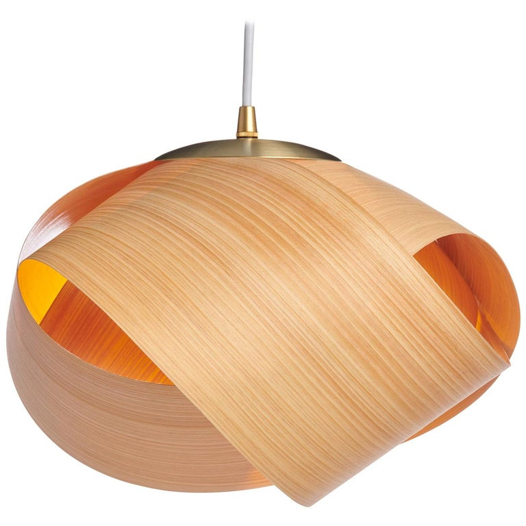 FLEUR Cypress Wood Mini Pendant with Brushed Brass For Sale