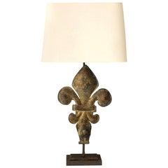 Fleur-de-Lis Lamp in Gilt-Tole
