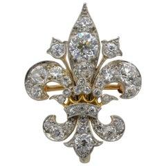 Fleur de Lys Old Mine Cut Diamond Gold Brooch From Fraser