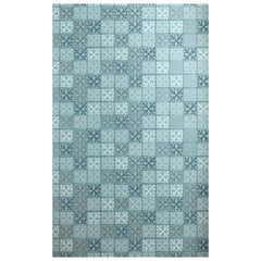 'Fleur-de-Lys Tile' Contemporary, Traditional Wallpaper in Canteen Blue
