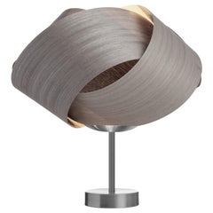 FLEUR Gray Wood Table Lamp with Brushed Steel Stand
