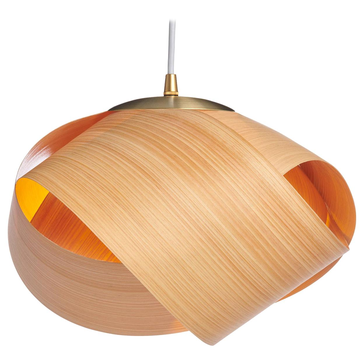 Scandinavian Design Natural Wood Pendant with Brushed Brass