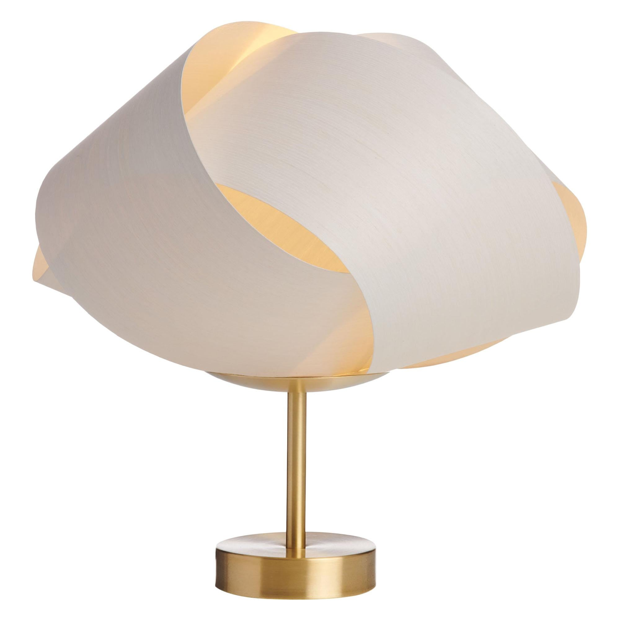 Scandinavian Modern wood veneer shade with brushed brass stand