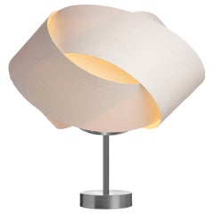 FLEUR White Wood Table Lamp with Brushed Steel Stand