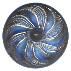 'Fleurons' an Art Deco Blue Opalescent Glass Plate by René Lalique