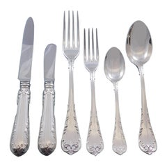 Fleury by Fortunoff Italy Sterling Silver Flatware Set Service Dinner 42 pieces