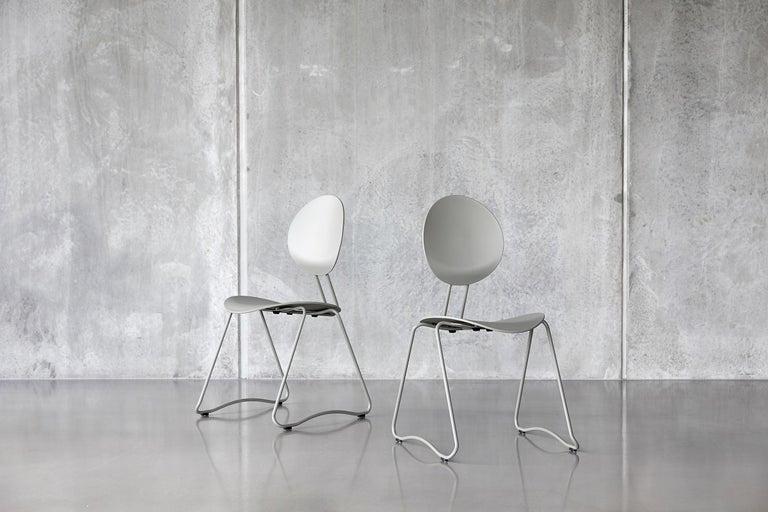 Modern FLEX Chair in Black Powder-Coated Steel Sledge Frame by Verner Panton Quickship For Sale