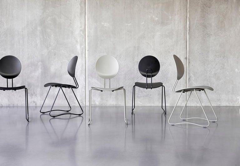Danish FLEX Chair in Black Powder-Coated Steel Sledge Frame by Verner Panton Quickship For Sale