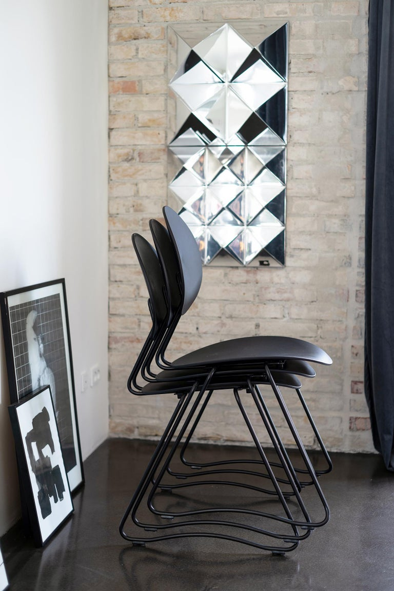 FLEX Chair in Black Powder-Coated Steel Sledge Frame by Verner Panton Quickship In New Condition For Sale In Horsens, DK