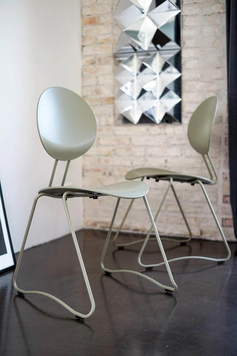 Plastic FLEX Chair in Black Powder-Coated Steel Sledge Frame by Verner Panton Quickship For Sale