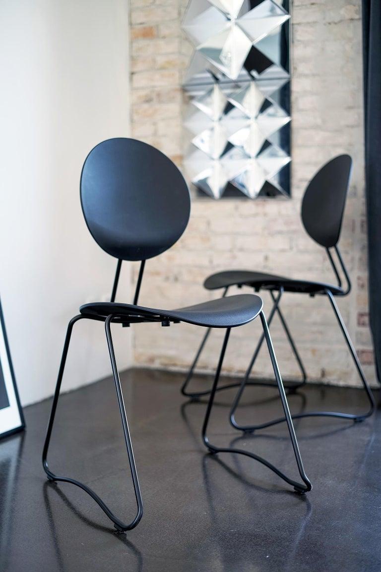 FLEX Chair in Black Powder-Coated Steel Sledge Frame by Verner Panton Quickship For Sale 1