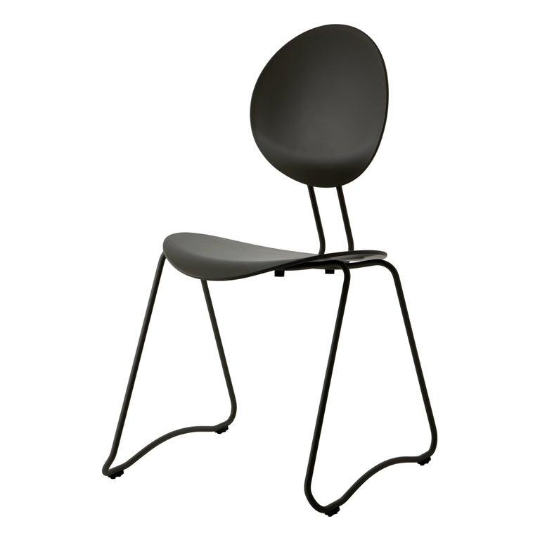 FLEX Chair in Black Powder-Coated Steel Sledge Frame by Verner Panton Quickship For Sale