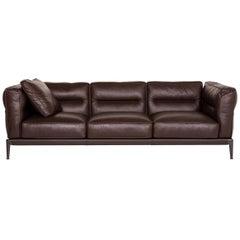 Flexform Adda Leather Sofa Brown Dark Brown Three-Seat Couch