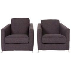 Flexform Fabric Armchair Set Gray 2 Armchair