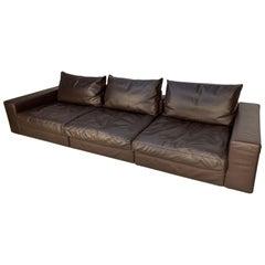 "Flexform ""Groundpiece"" Sofa in Brown ""Pelle De Lux"" Leather"